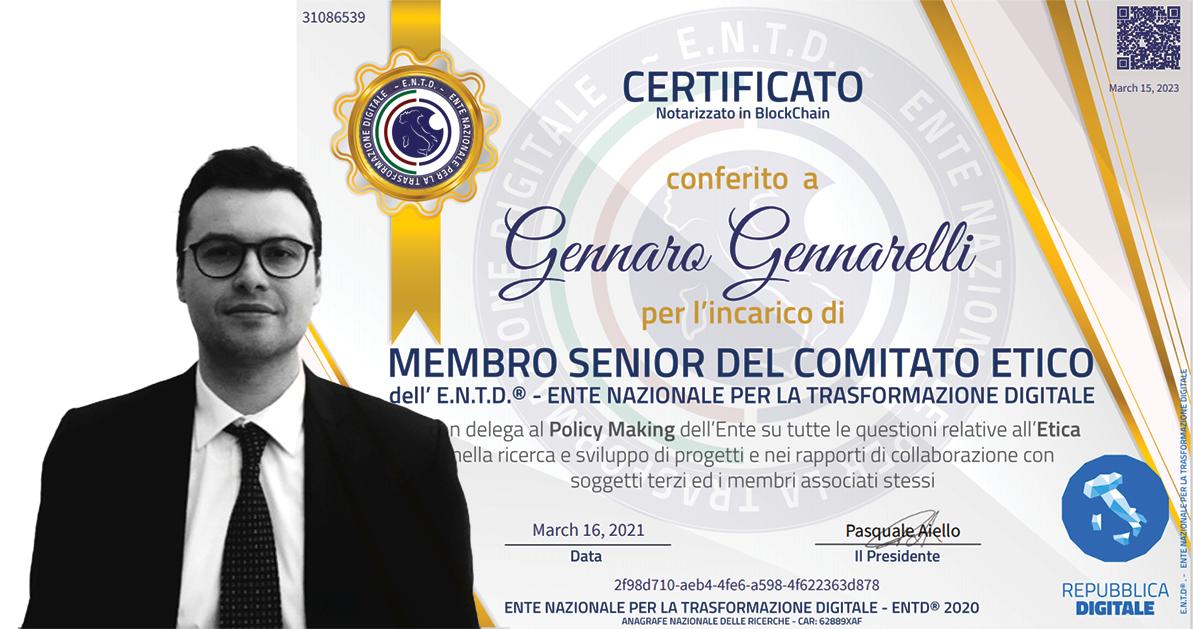 Gennaro Gennarelli entra nel Comitato Etico dell'ENTD - Ente Nazionale per la trasformazione digitale