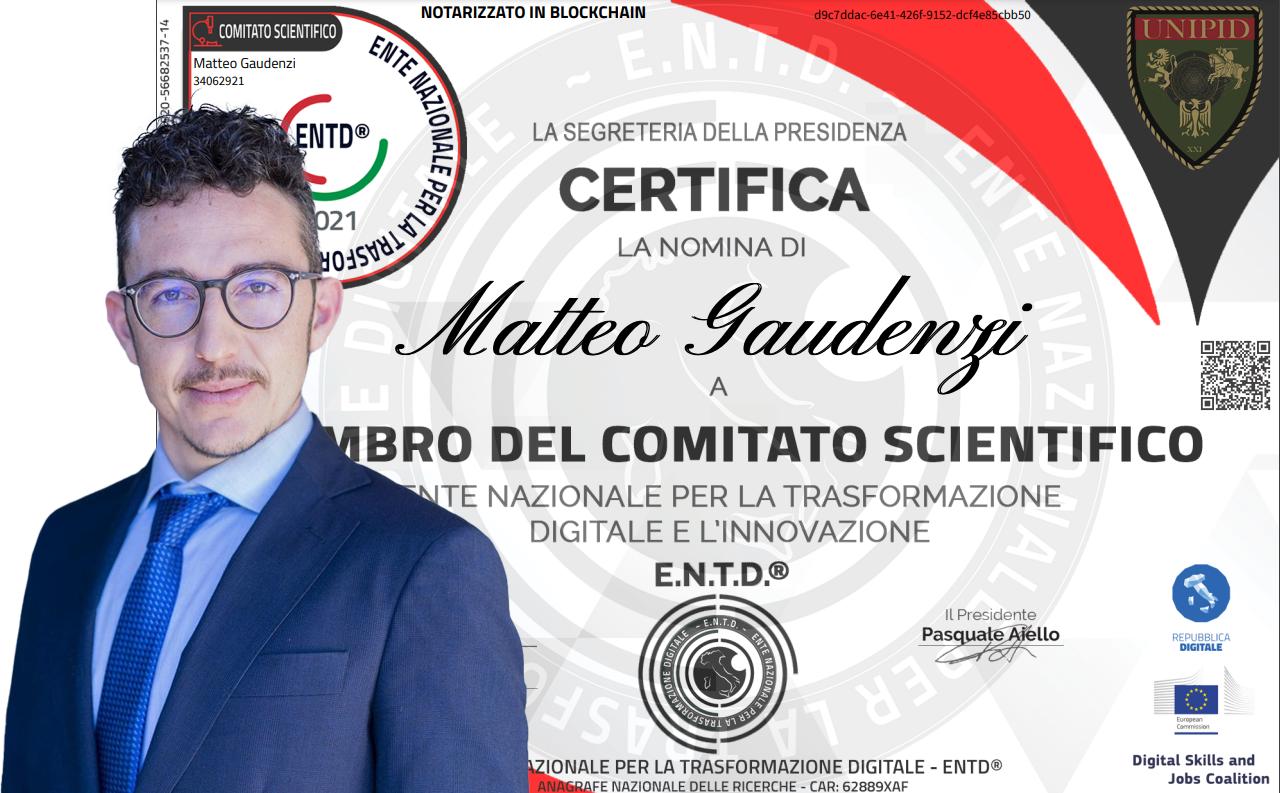 Innovazione: Matteo Gaudenzi entra nel Comitato Scientifico dell' Ente Nazionale per la Trasformazione Digitale