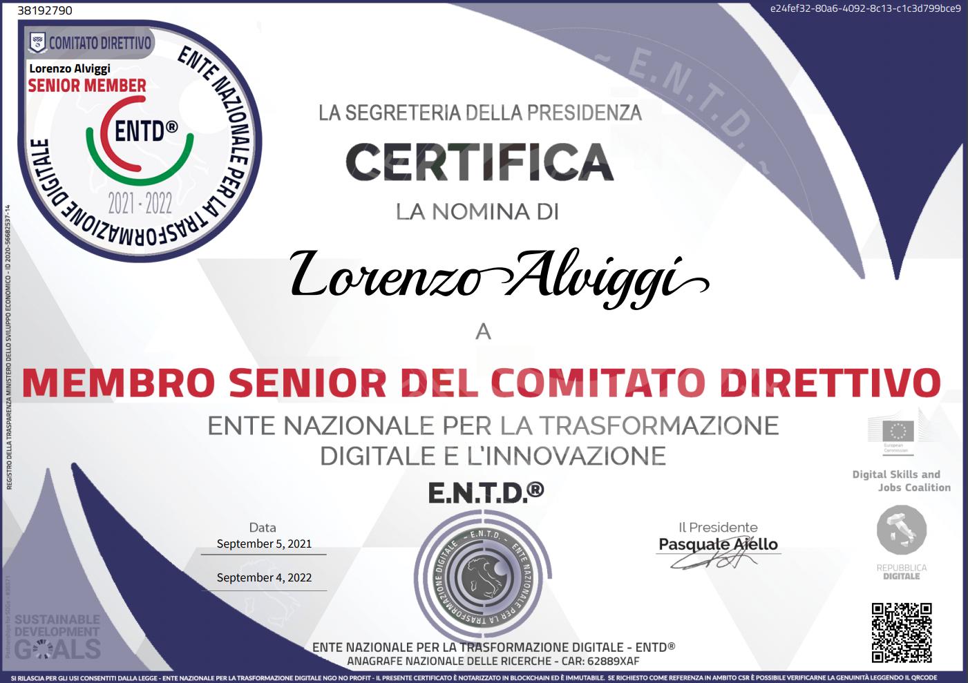 l'Ingegnere Lorenzo Alviggi entra nel Comitato Direttivo dell'Ente Nazionale ENTD®